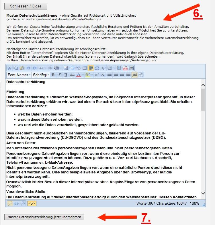 Datenschutzerklärung aus Datenschutzvorlage kopieren übernehmen